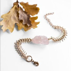 Boho Raw Rose Quartz Crystal Gold Bracelet